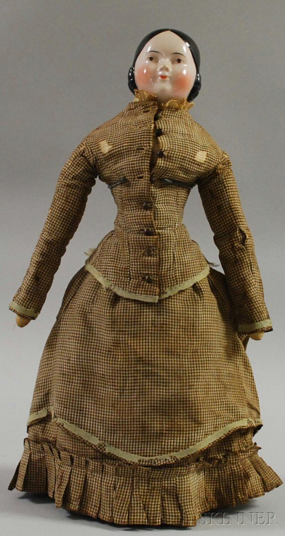 10: Brown-eyed China Shoulderhead Doll, 1850s, possibly