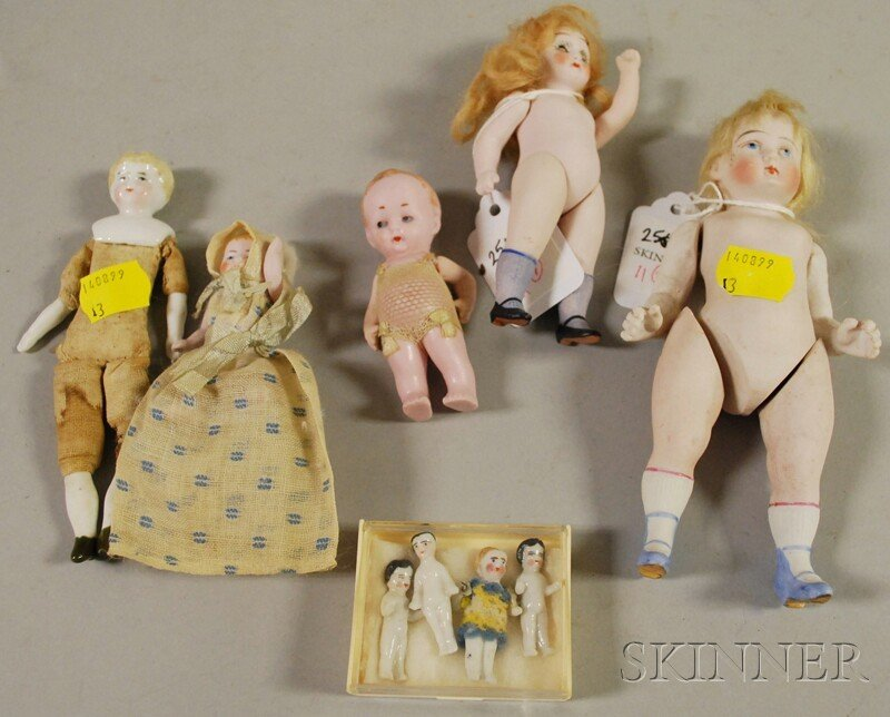 11: Nine Small Bisque and China Dolls, Germany, three t