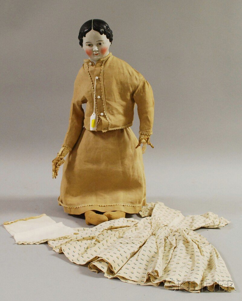 12: Early Brown-eyed China Head Doll with Additional Dr