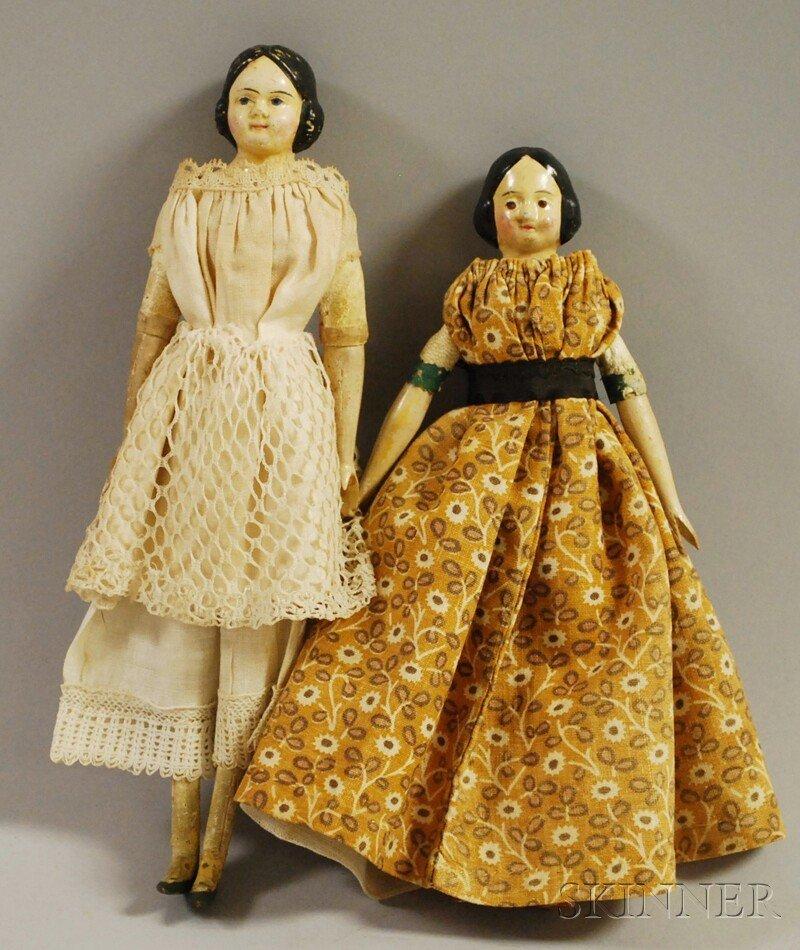 "13: Two Small Papier-mache ""Milliner's Model"" Dolls, Ge"