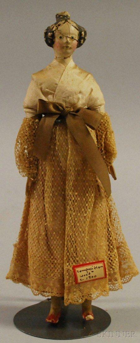 "14: Papier-mache ""Milliner's Model"" Doll, early 1800s,"