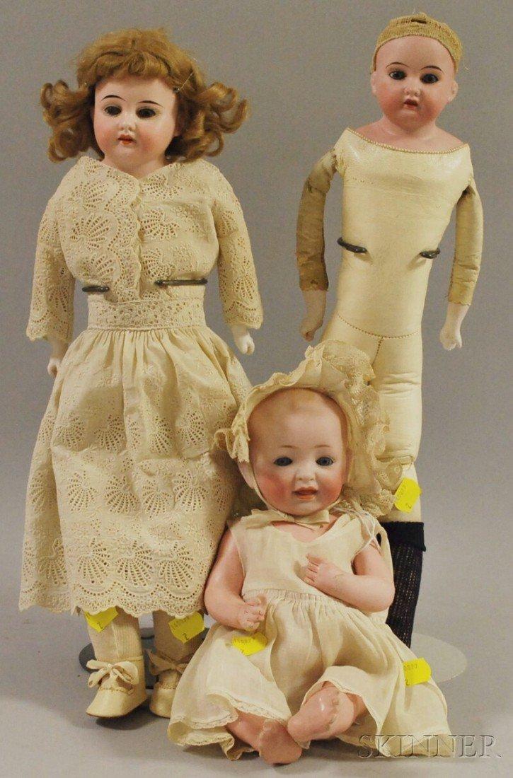 15: Three German Bisque Head Dolls, JDK bent limb baby,