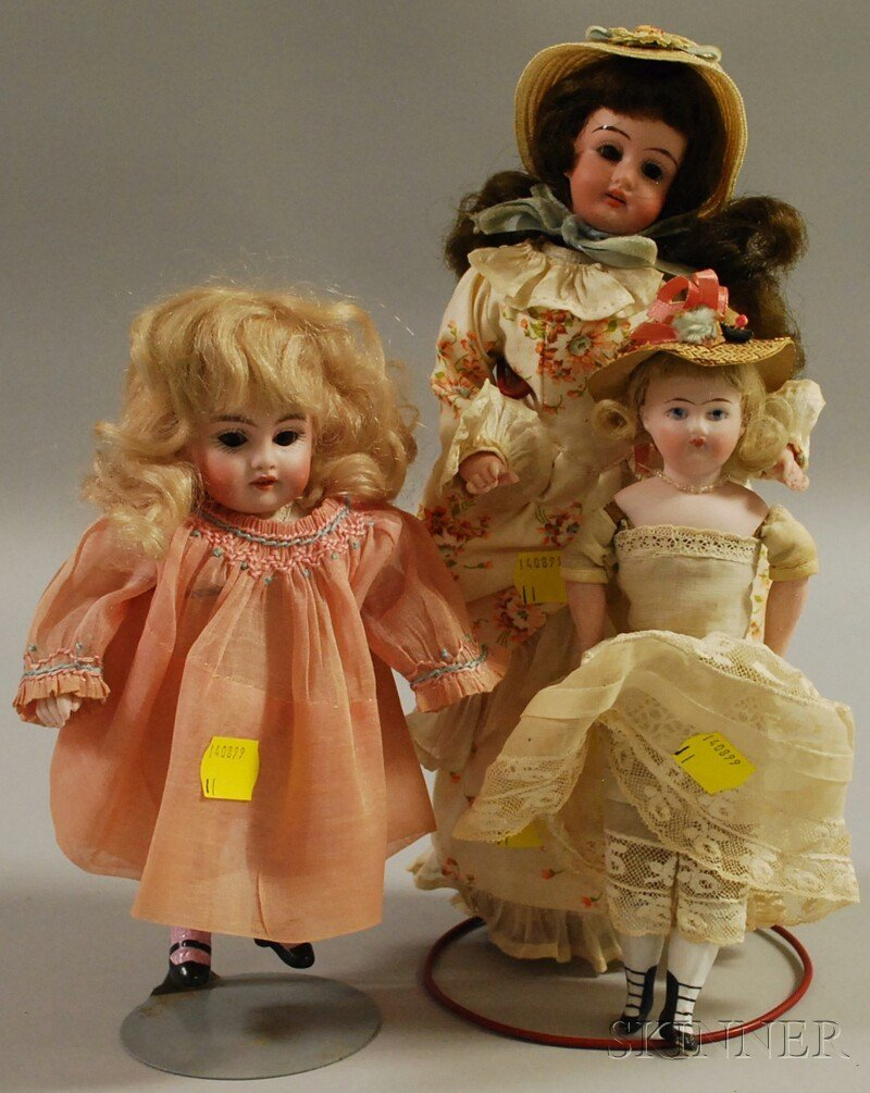 18: Three Small Bisque Dolls, Germany, rigid neck all-b
