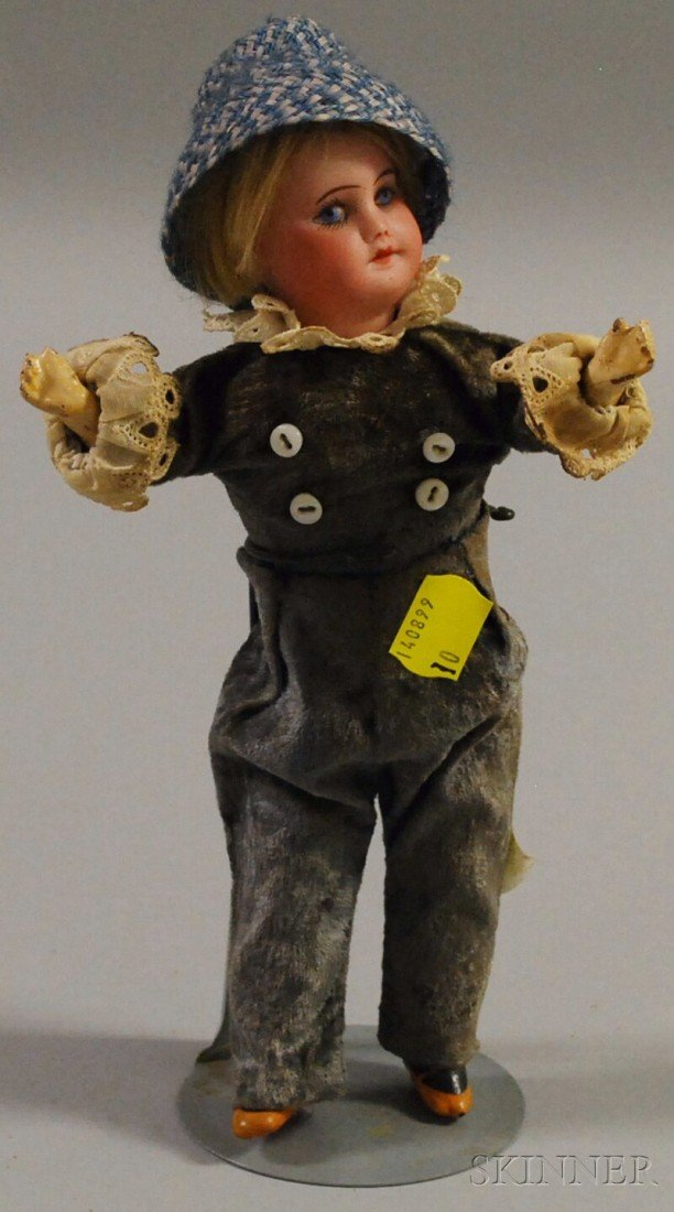 19: Small SFBJ 60 Bisque Head Doll, France, painted eye