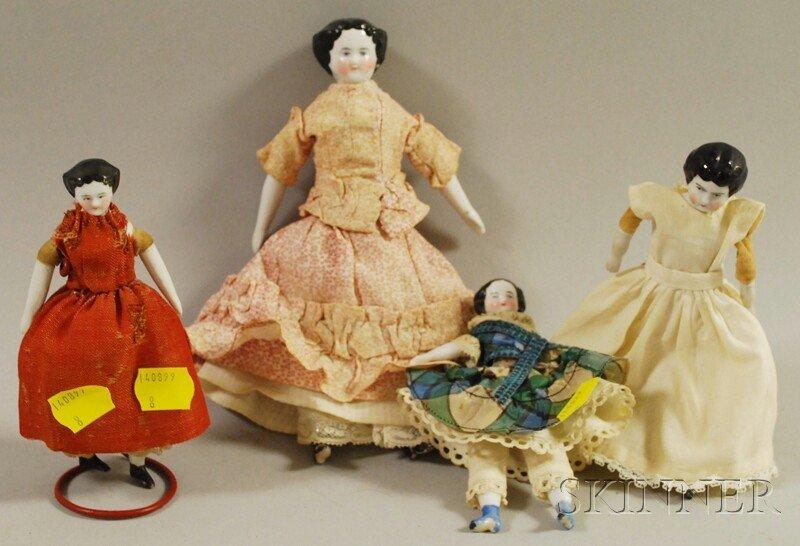 24: Four Small China Head Dolls, Germany, cloth bodies