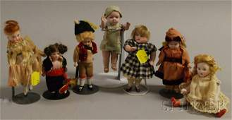 37: Seven Small All-Bisque Dolls, Germany, jointed limb