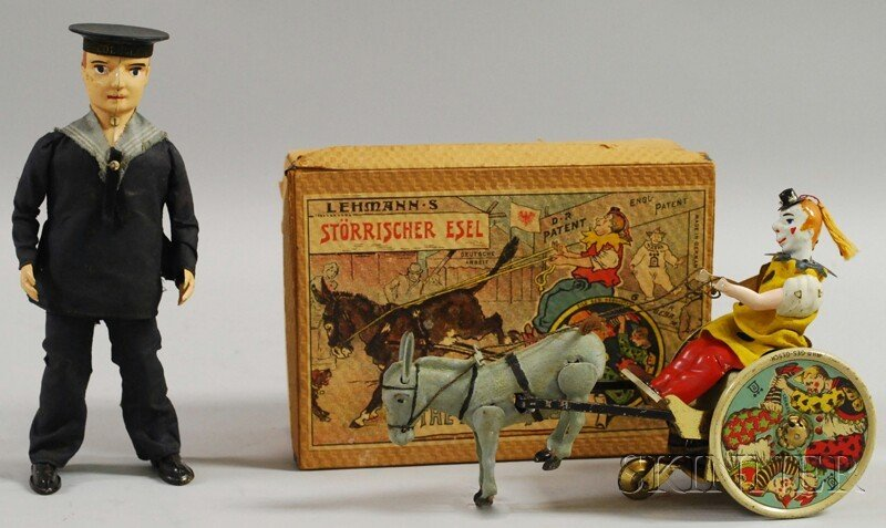 153: Lehmann Tin Toy Sailor and The Balky Mule in Box,