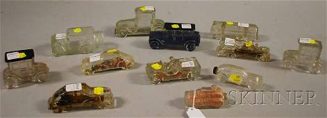 193 Twelve Colorless Glass Vehicleform Candy Containe
