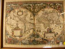 417B Decorative Handcolored World Projection Map afte