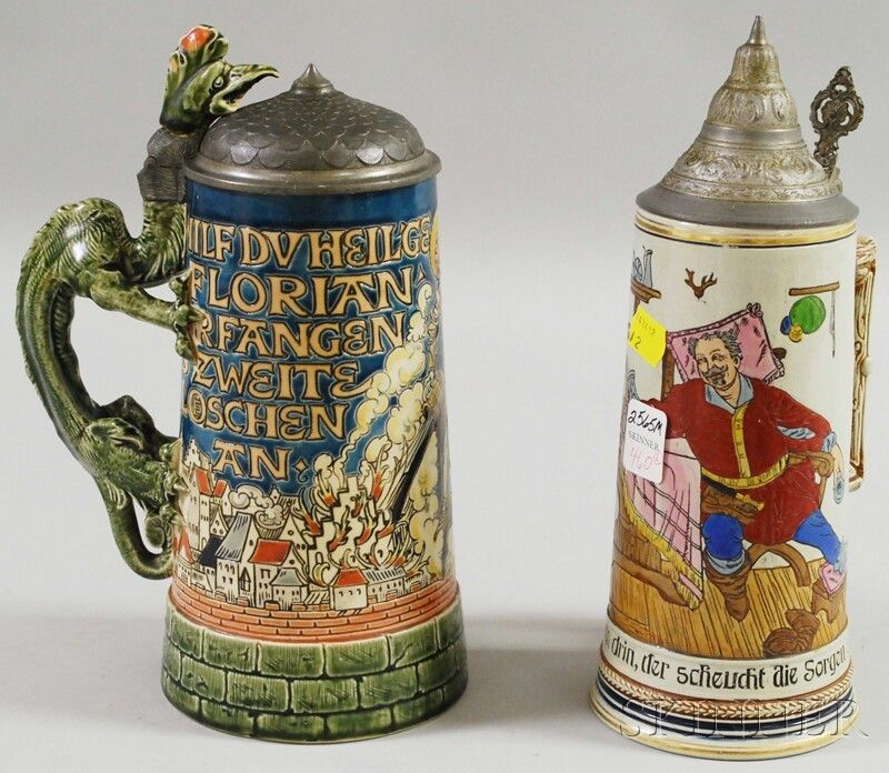 460: Two Mettlach Etched Stoneware Steins with Pewter C