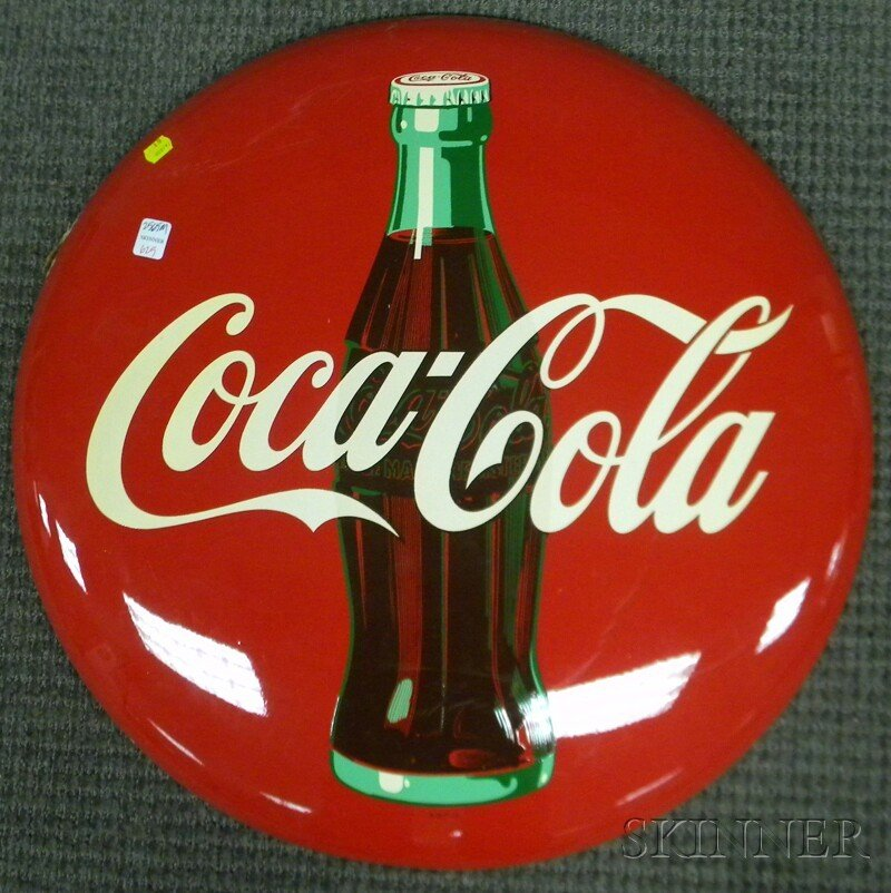 625: Coca-Cola Painted Tin Button Sign, c. 1952, (unuse