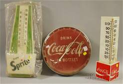 647C Two CocaCola Plastic Wall Thermometers and a Spr