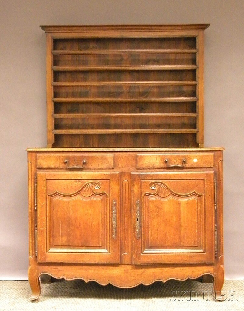 705: Louis XV Provincial-style Carved Oak Sideboard wit