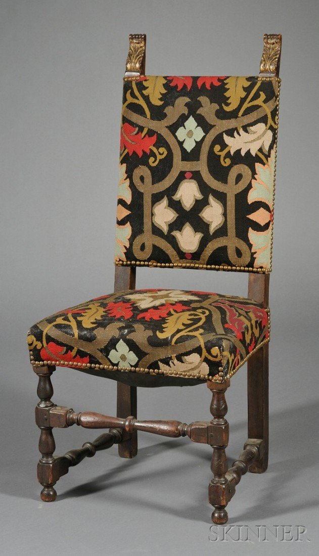707: Baroque-style Walnut and Tapestry Upholstered Side