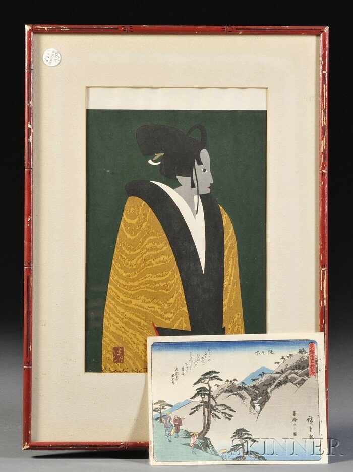 708: Two Woodblock Prints, Kiyoshi Saito, of a female B
