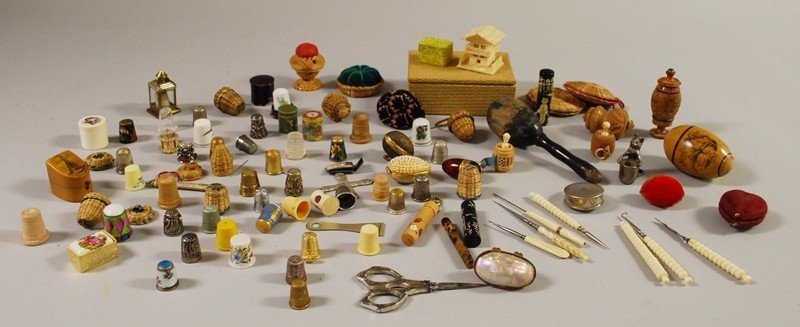 709: Lot of Sewing Related Items, including basketry, t