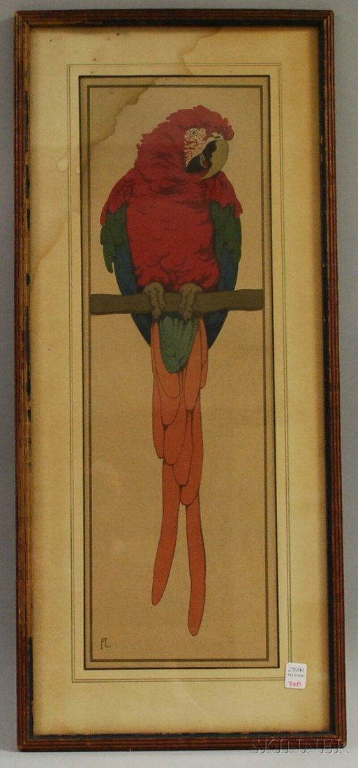 """710B: Framed Fritz Lang Chromolithograph of a Macaw, """"F"""