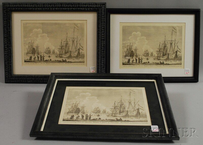 710C: Three Identical Framed French Reproduction Etchin
