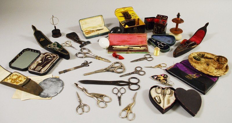 712: Lot of Mostly 19th Century Sewing Kits and Related