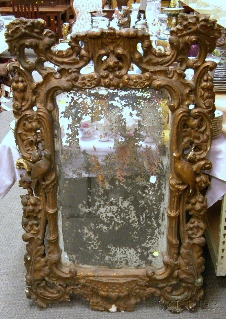 713: Italian Rococo-style Gilt-gesso Mirror, (losses, g