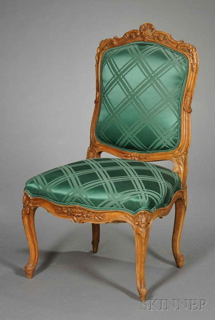 715: Louis XV-style Carved Beechwood and Silk Upholster