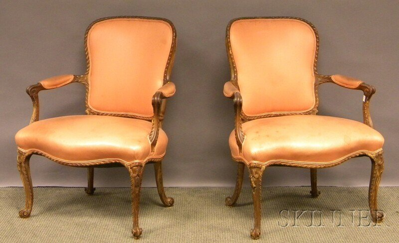 720: Pair of Anglo-Irish Rococo-style Upholstered Carve