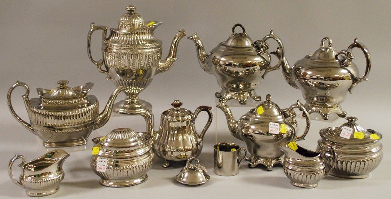 884: Twelve Silver Luster Mostly Tea and Coffee Wares,