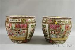 1227 Pair of Modern Chinese Export Rose Mandarin Porce