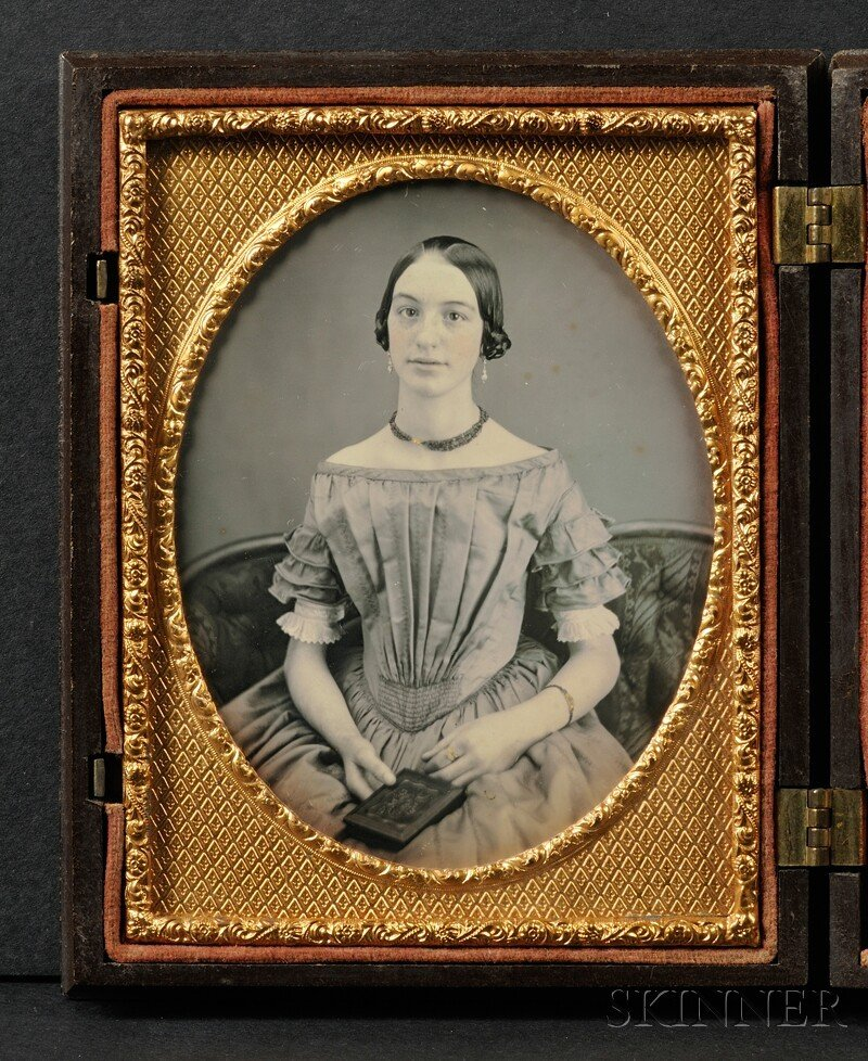 2: Quarter Plate Daguerreotype of a Young Woman Holding