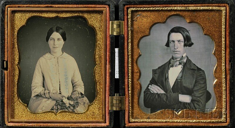 7: Two Sixth Plate Daguerreotype Wedding Portraits of a