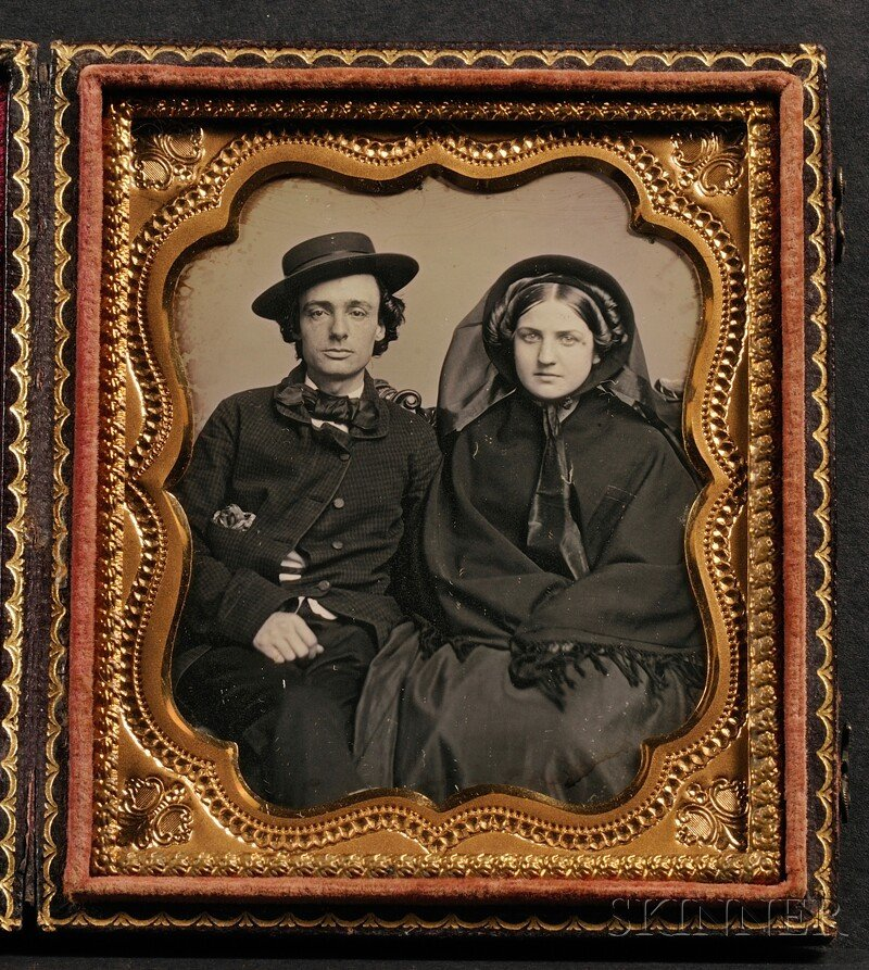 9: Sixth Plate Daguerreotype Portrait of a Couple, in o
