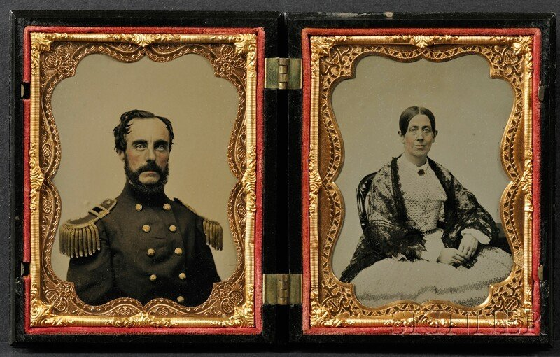 11: Two Quarter Plate Ambrotype Portraits of a Union Of