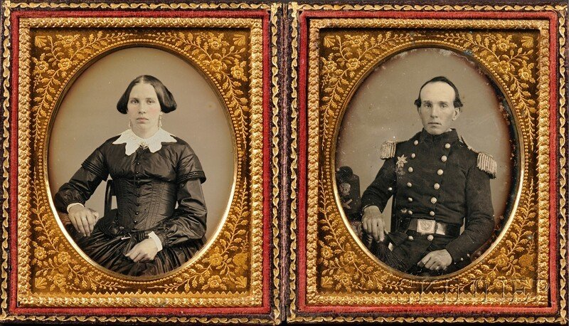 12: Two Sixth Plate Daguerreotype Portraits of a Union