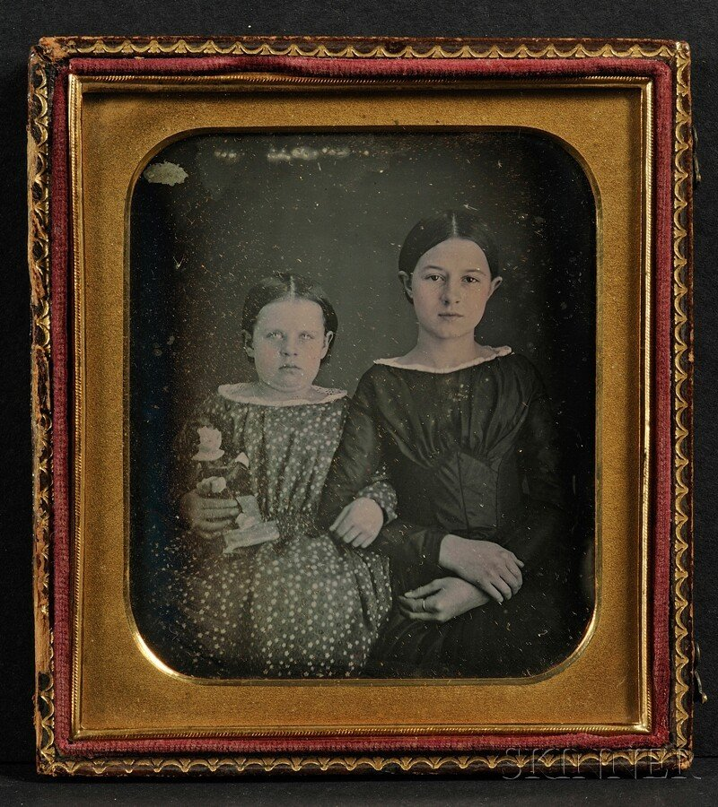 14: Oversized Quarter Plate Daguerreotype of Two Sister