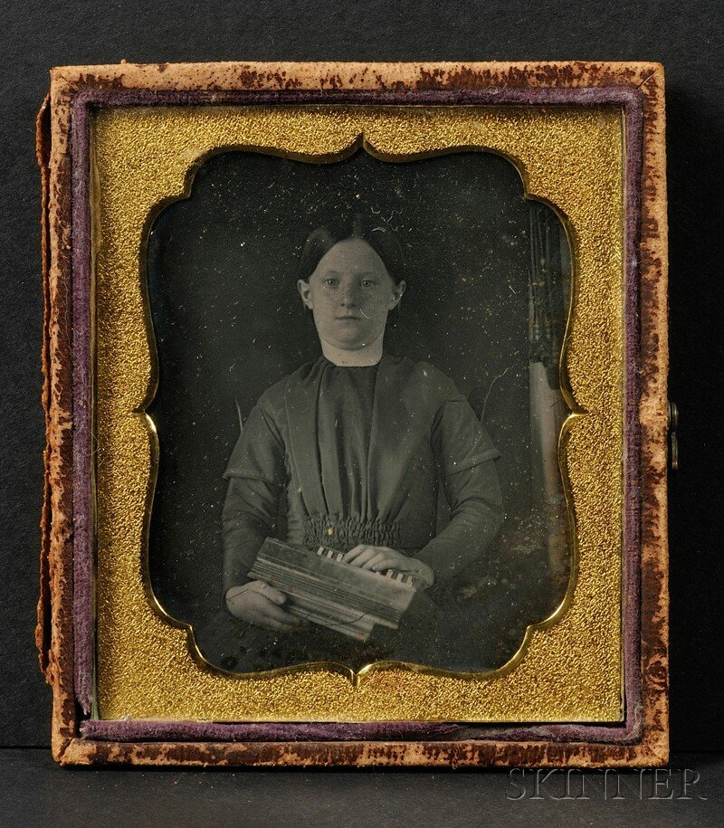 16: Sixth Plate Daguerreotype Portrait of a Girl with a