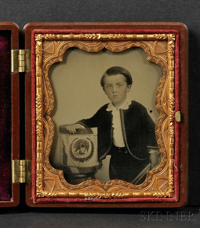17: Sixth Plate Ambrotype of a Boy with His Drum, Decor