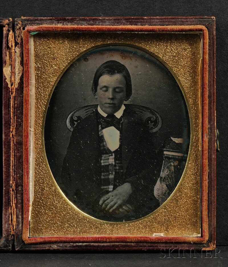 18: Sixth Plate Daguerreotype Portrait of a Boy Seated