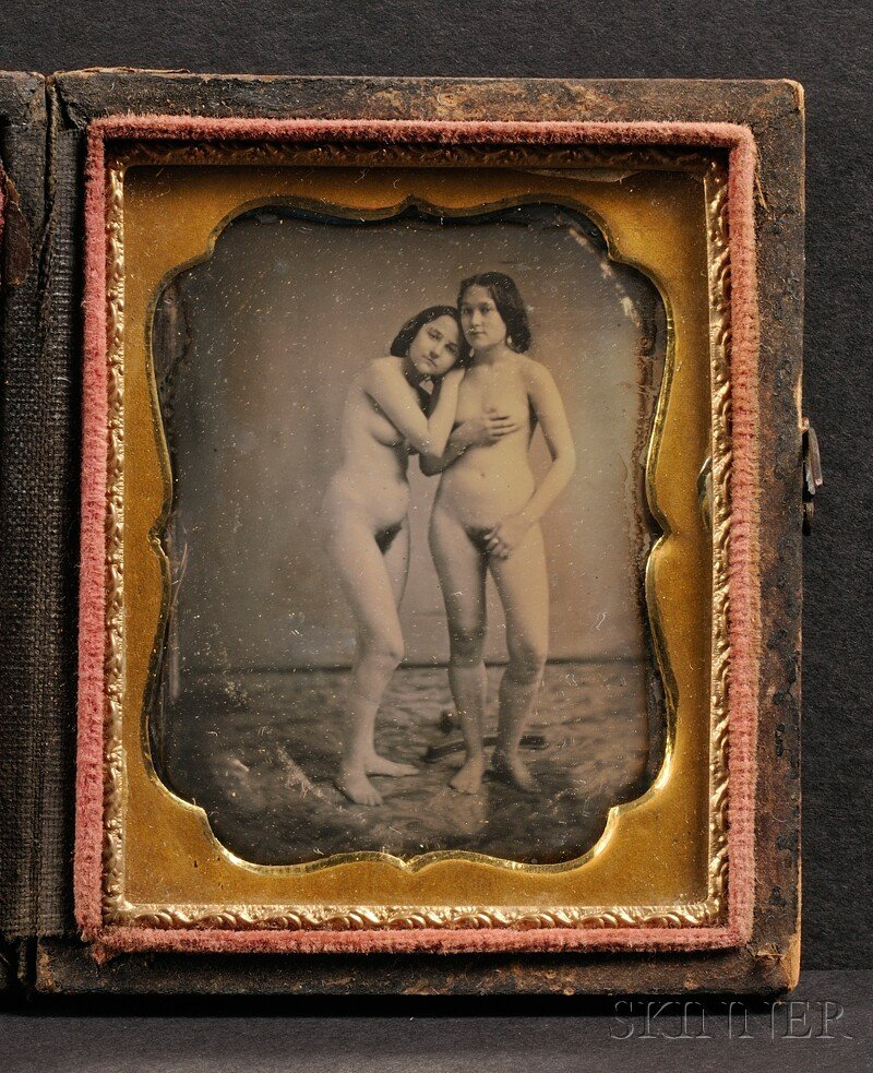 760: Ninth Plate Daguerreotype of Two Nude Young Women,