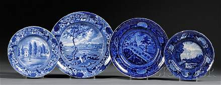 864: Four Blue Transfer-decorated Staffordshire Pottery