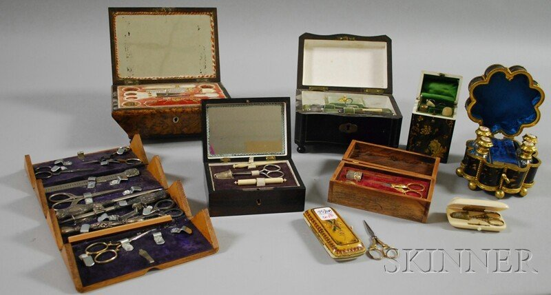 501: Nine Assorted Mostly 19th Century Sewing Boxes and