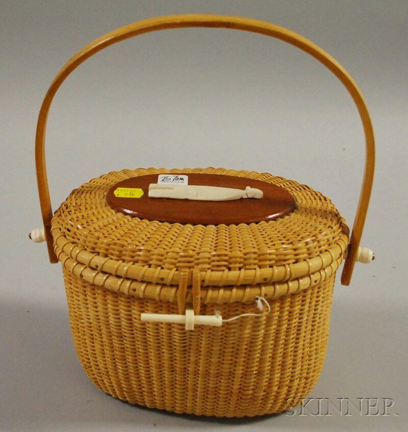 502: Nantucket Basket Purse, America, c. 1960s, oval co