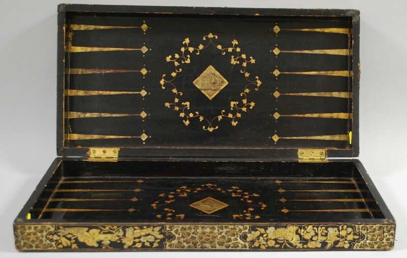 504: Gilt Lacquer Folding Game Board, China, early 19th