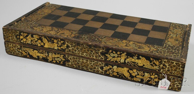 504: Gilt Lacquer Folding Game Board, China, early 19th - 2