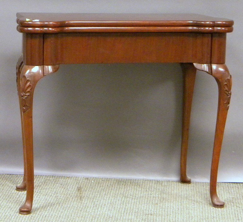 505: Queen Anne-style Carved Mahogany Card Table.