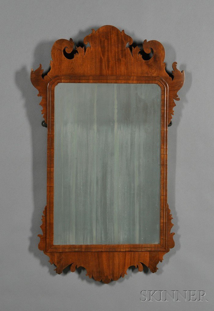 506: Chippendale Mahogany Veneer Scroll-frame Mirror, N