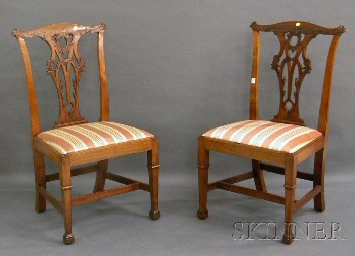 507: Pair of Georgian-style Carved Mahogany Side Chairs