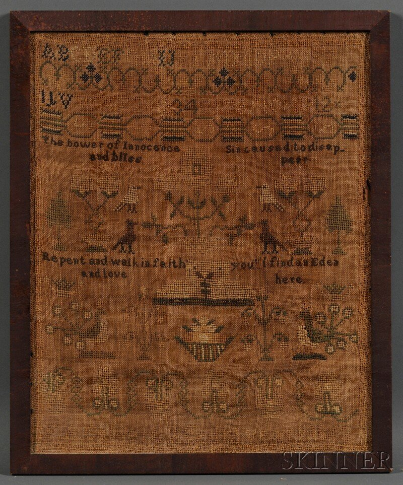 "509: Needlework Sampler, ""F.A. Calvert Aged 12 years 18"