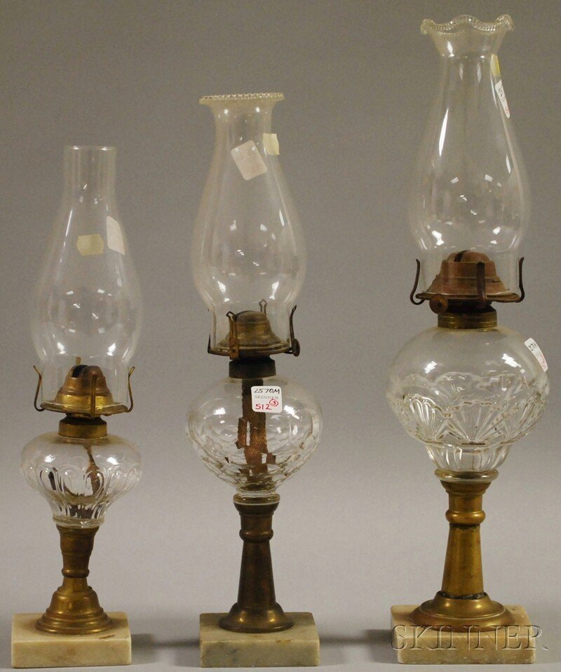512: Three Pressed Colorless Glass, Brass, and Marble K
