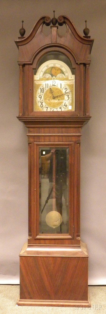 515: Chippendale-style Mahogany Hall Clock, Germany, 20