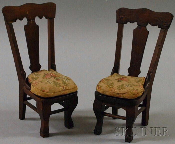 517D: Two Victorian Carved Wood Doll Chairs, ht. 9 1/2